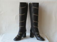 $2100 Chanel Black  Leather CC Logo Quilted Chain Knee High Boots Sz 39 New