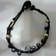 Black Cord Brown Cream Wood Beads Jingle Bells Unusual Bracelet Wristband Bangle