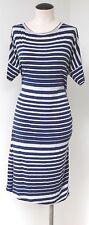CABI BLUE & GRAY STRIPE RUCHED SIDES DOLMAN SHORT 3/4 SLEEVE CASUAL SPORT DRESS