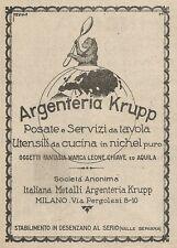 Z2020 Argenteria Krupp - Posate e Servizi da tavola - Pubblicità d'epoca - Adv.