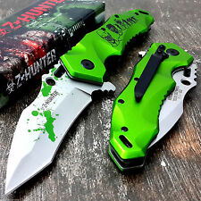 Z-Hunter Zombie Green Blood Splatter Spring Assisted Knife Knives Great Gift!!