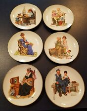 "Vintage Lot/Set of 6 Norman Rockwell Museum Decorative 6.5"" Porcelain Plate 1984"