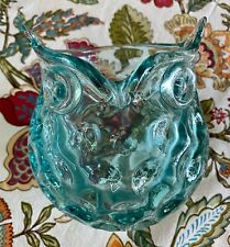 OWL GLASS VASE CANDLE HOLDER THUMBPRINT TEAL CLEAR