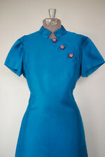 Vintage 1960s Electric Blue Asian Style GoGo Rhinestone Space Age Cocktail Dress