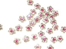 20 Flower Jewel 1cm Crystal Rhinestone/AA Grade Glass/bead/bow/pink center E28