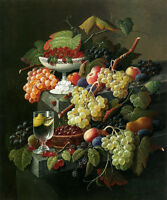 Oil painting Severin Roesen - Still Life fruits grape with cherry Strawberries