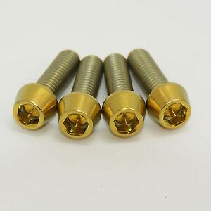 GOLD Titanium Caliper Bolts M6x20mm Caliper Bolts  4 PACK. Fit Hope, Hayes, Avid