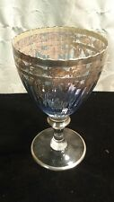 Victorian Ice Blue Glass Chalice with Sterling Silver Overlay ~ Estate Find ~
