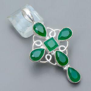 "Emerald Gemstone 925 Sterling Silver Holy Cross Pendant 1.87"" P1818-5"