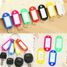 50PCS Key Ring Tags Plastic Assorted Color Name Label Keys Tag Luggage Fob Rings
