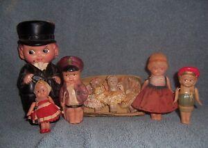 6 Vintage Antique Japan Celluloid Doll Lot~Cute~Soldier~Little Girls~Mailman