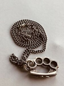 MB57 King Baby Studio .925 Sterling Silver Chain Brass Knuckle Men's Necklace