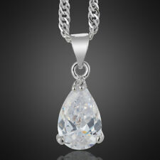 Wedding Jewelry Pear White Topaz 18K White Gold Plated Pendant Free Necklace
