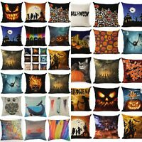 Halloween Square Cotton Linen Throw Pillow Case Cushion Cover Home Sofa Decor