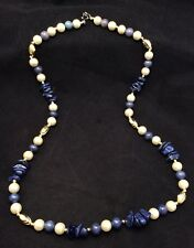 """Vintage Faux Round White Pearl And Blue Lapis Bead Strand Necklace 25"""""""