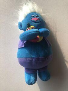Dreamwork Trolls Plush Blue Troll Biggie Holding Mr Dinkles Talking Toy 2016
