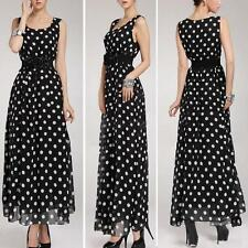 Women's Summer Dot Sleeveless Chiffon Dress Maxi Long Cocktail Party Dress Beach