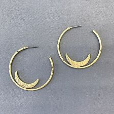 Antique Gold Bohemian Hammered Open post back Hoop Crescent  Design Earrings