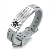 Grey Women Medical Alert ID Silicone Bracelet Bangle Personalized Free Engraving