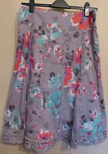 Monsoon UK12 EU40 US8 grey floral lined cotton skirt with frill trim