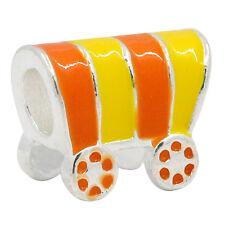 "10 European Charm Beads Enamel Orange Yellow Carriage Silver Plated 5/8""x 4/8"""