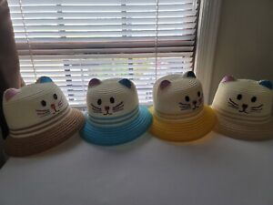 *New* Girls Summer Straw Hats (Kitten/Cat Hat) 4 Colors. 1 For $12.