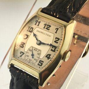 "VTG 1933 HAMILTON ""GRANT""  987-F 10K GOLD-FILLED ART DECO WATCH- RUNS/KEEPS TIME"
