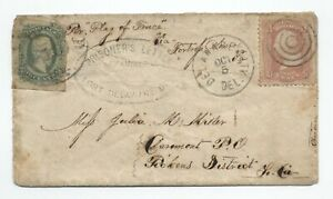 1864 Fort Delaware civil war POW cover confederate mixed franking [F821.78]