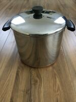 Vintage Revere Ware 8 Qt Stock Pot Dutch Oven Copper Clad w/Lid Quart Stainless