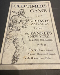 1970 BASEBALL YANKEES VS BRAVES OLD TIMERS GAME PROGRAM~MICKEY MANTLE~HANK AARON