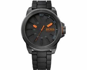Genuine Hugo Boss 1513004 Men's Orange New York Black Strap Dial Analogue Watch