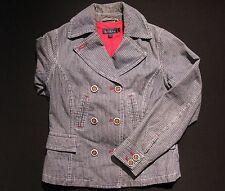Women's 10 BODEN Blue White Striped Denim Jean Pea Jacket Coat EUC