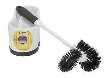Toilet Bowl Brush with Rim Cleaner and Holder Set Black & White