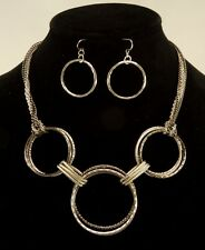 New Multi Strand Silver Gunmetal Colored Chain Link Necklace & Earring Set N2377