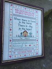 Vintage Cross Stitch Love In The Home Sampler With The Adairs In Nice Wood Frame