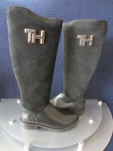 Tommy Hilfiger Essential Suede Longboot Damen Stiefel Blau, Schwarz Gr.36 37 NEU