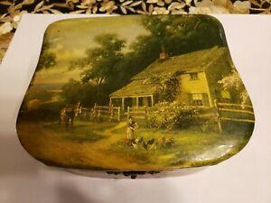 Antique celluloid vanity box, farm scene
