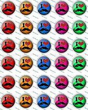 """30 Precut 1"""" I Love Moustache Bottle cap Images Set 1"""