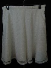 Calvin Klein Plus Size Floral Lace A-Line Skirt 16W Soft White Lined #2037