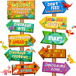 20 Pieces Dinosaur Party Decoration Signs Be Ware of Dinosaur Cutouts Directiona