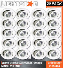 20 x White Gimbal Downlight Fittings 240V GU10 Gimble Frames Adjustable Max 11W
