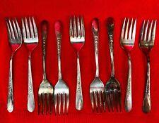 WM Rogers Salad Fork Priscilla-Ladyann Silverplate Flatware - Lot of 9 Forks
