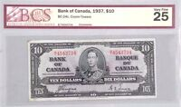1937 Bank of Canada Ten Dollar Note - Coyne/Towers BSC Certified VF25