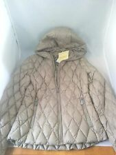 $150 MICHAEL KORS Taupe Beige Quilted Down Hooded Packable Jacket Coat  size XS