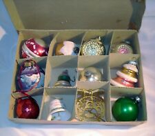 Christmas 12 Vintage 1946-2014 Glass + Variety Ornaments Vg to Euc Pre-War Box