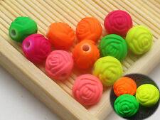100 Mixed Fluorescent Neon Beads Acrylic Rose Flower Bud Beads 10mm Rubber Tone