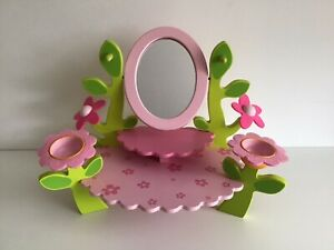 Djeco Girls Wooden Table Top Dressing Table Pink With Mirror