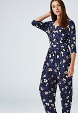 Kim & Co Printed Brazil Jersey 3/4 Sleeve Jumpsuit Blue Multi Size L BNWT NEW