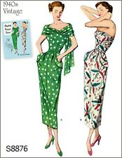 S8876 Simplicity 8876 Designers Sewing Pattern Vintage 1940's Dress Stole 20-28
