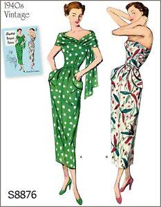 S8876 Simplicity Designer's Sewing Pattern Vintage 1940's Dress Stole Sz 10-18
